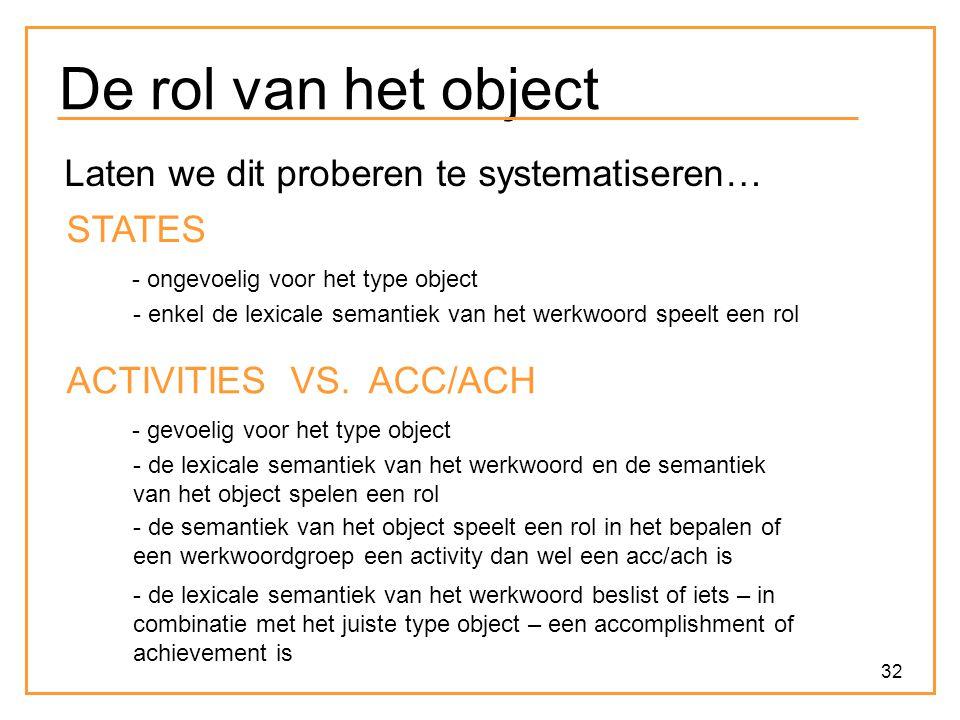 32 De rol van het object Laten we dit proberen te systematiseren… STATES - ongevoelig voor het type object - enkel de lexicale semantiek van het werkw