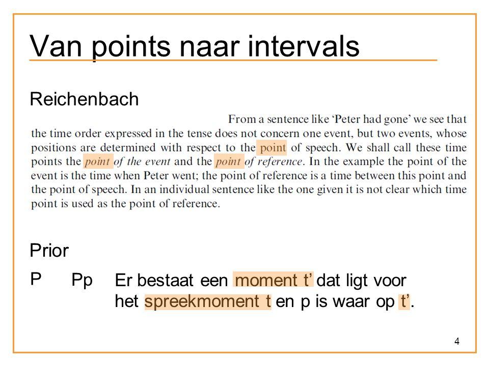 4 Van points naar intervals Reichenbach Prior P Pp Er bestaat een moment t' dat ligt voor het spreekmoment t en p is waar op t'.