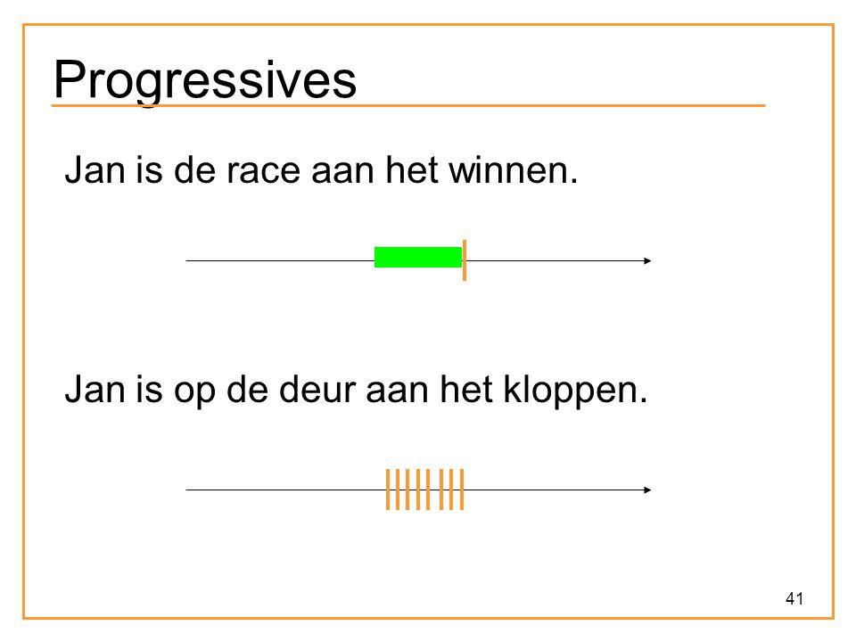 41 Progressives Jan is de race aan het winnen. Jan is op de deur aan het kloppen.