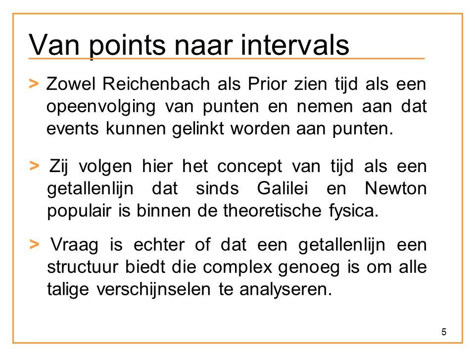 5 Van points naar intervals > Zowel Reichenbach als Prior zien tijd als een opeenvolging van punten en nemen aan dat events kunnen gelinkt worden aan