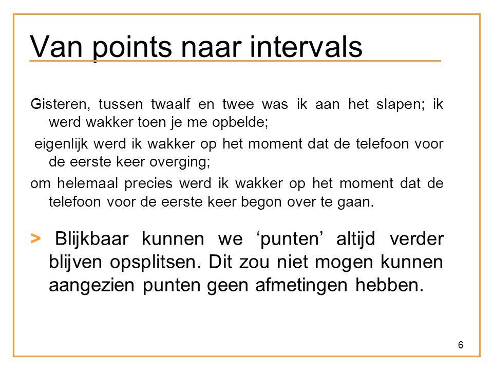 7 Van points naar intervals Voorstel: In plaats van met punten te werken, werken we met intervallen (verzamelingen van opéénvolgende punten).