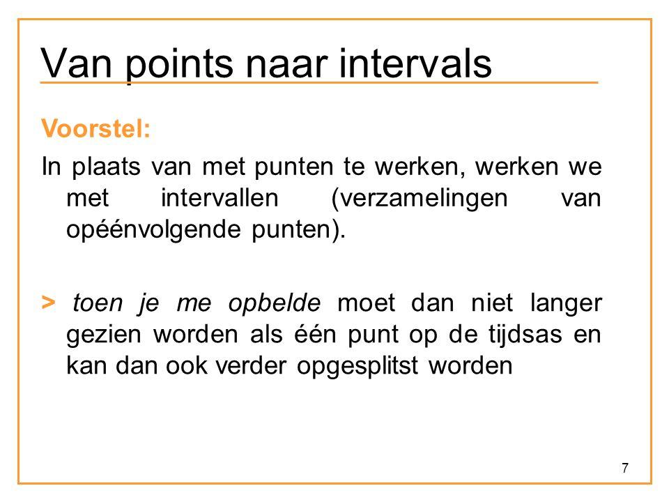 7 Van points naar intervals Voorstel: In plaats van met punten te werken, werken we met intervallen (verzamelingen van opéénvolgende punten). > toen j