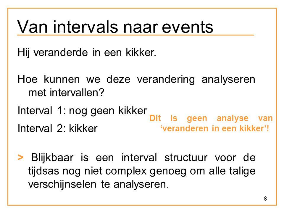 8 Van intervals naar events Hij veranderde in een kikker. Hoe kunnen we deze verandering analyseren met intervallen? Interval 1: nog geen kikker Inter