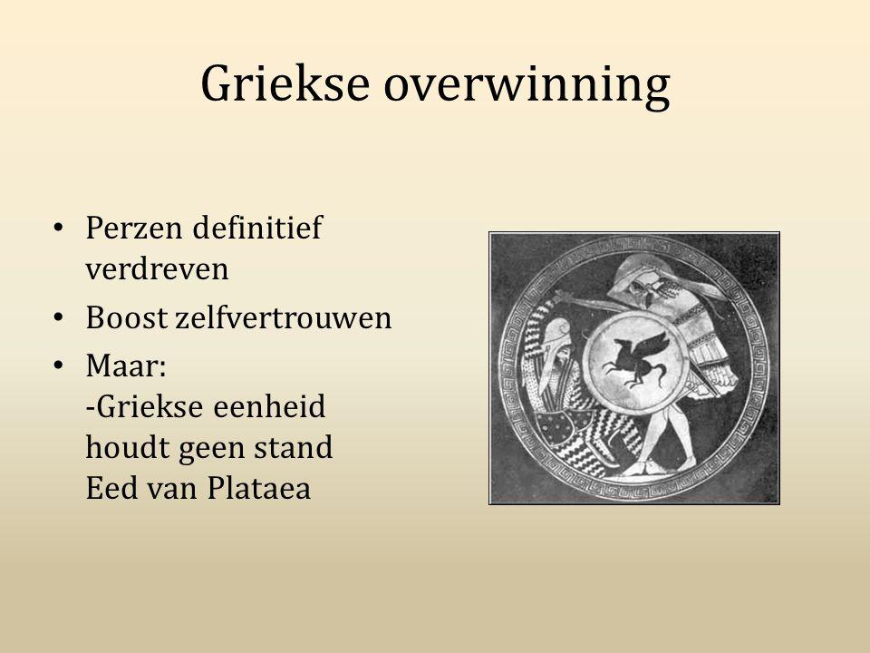 Griekse overwinning Perzen definitief verdreven Boost zelfvertrouwen Maar: -Griekse eenheid houdt geen stand Eed van Plataea