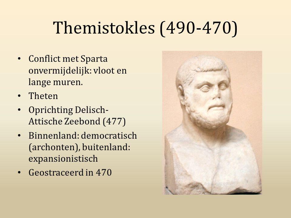 Themistokles (490-470) Conflict met Sparta onvermijdelijk: vloot en lange muren. Theten Oprichting Delisch- Attische Zeebond (477) Binnenland: democra