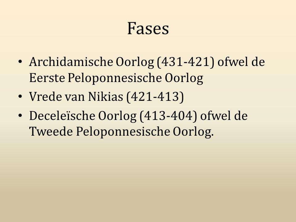 Fases Archidamische Oorlog (431-421) ofwel de Eerste Peloponnesische Oorlog Vrede van Nikias (421-413) Deceleïsche Oorlog (413-404) ofwel de Tweede Pe