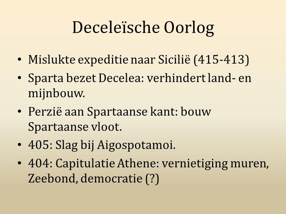 Deceleïsche Oorlog Mislukte expeditie naar Sicilië (415-413) Sparta bezet Decelea: verhindert land- en mijnbouw. Perzië aan Spartaanse kant: bouw Spar