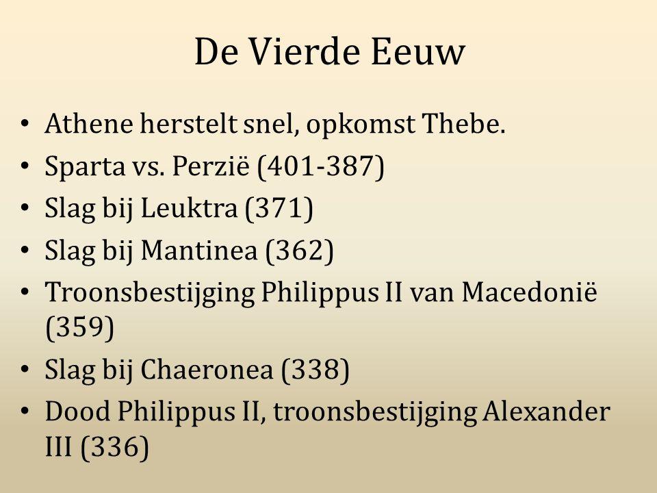 De Vierde Eeuw Athene herstelt snel, opkomst Thebe. Sparta vs. Perzië (401-387) Slag bij Leuktra (371) Slag bij Mantinea (362) Troonsbestijging Philip