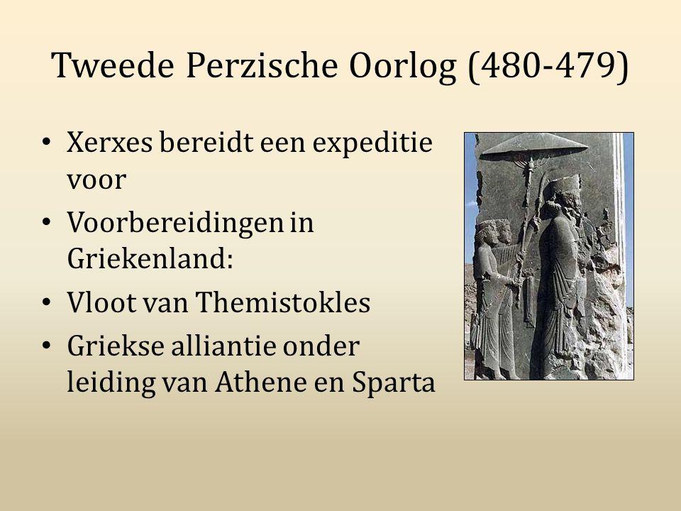 Tweede Perzische Oorlog (480-479) Xerxes bereidt een expeditie voor Voorbereidingen in Griekenland: Vloot van Themistokles Griekse alliantie onder lei
