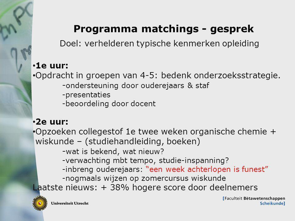 10 Programma matchings - gesprek 1e uur: Opdracht in groepen van 4-5: bedenk onderzoeksstrategie. - ondersteuning door ouderejaars & staf -presentatie
