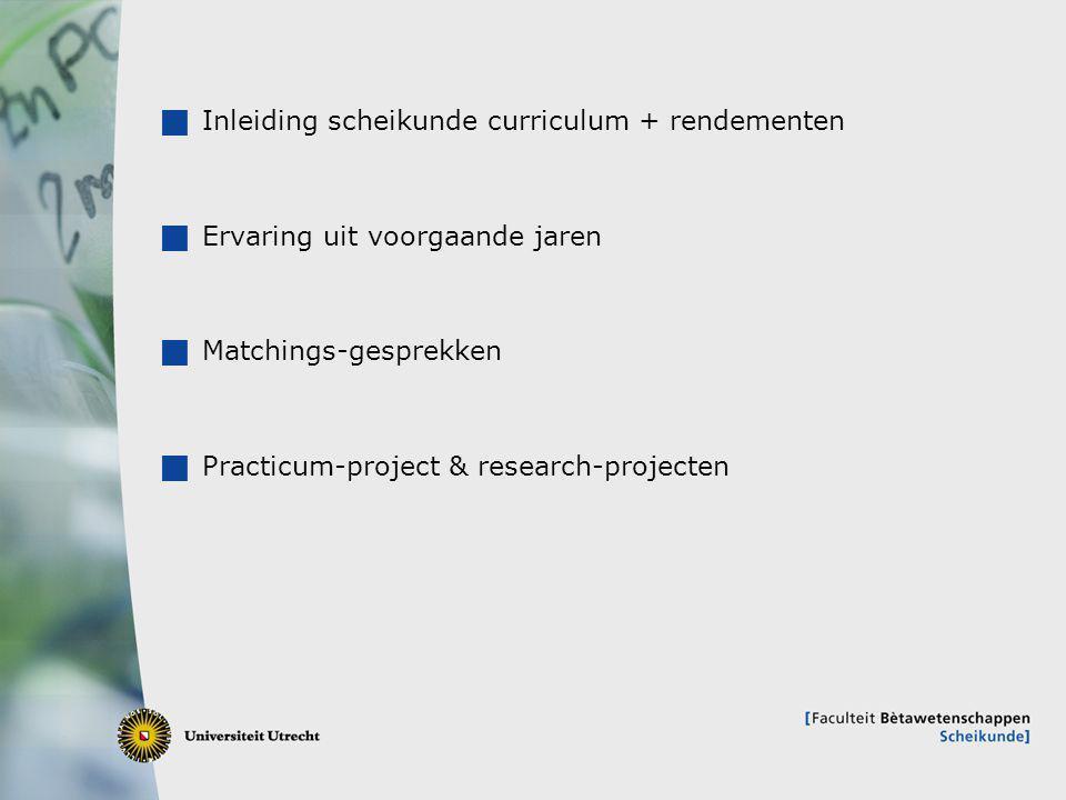 2  Inleiding scheikunde curriculum + rendementen  Ervaring uit voorgaande jaren  Matchings-gesprekken  Practicum-project & research-projecten