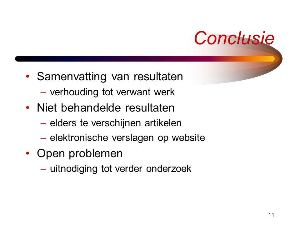11 Conclusie Samenvatting van resultaten –verhouding tot verwant werk Niet behandelde resultaten –elders te verschijnen artikelen –elektronische versl