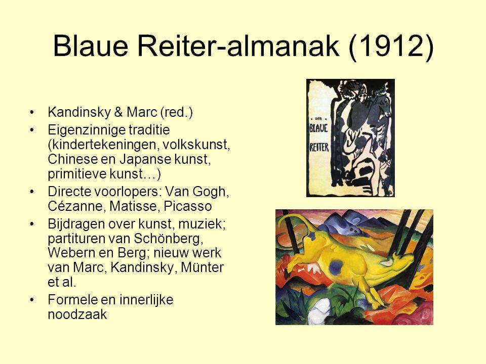 Blaue Reiter-almanak (1912) Kandinsky & Marc (red.) Eigenzinnige traditie (kindertekeningen, volkskunst, Chinese en Japanse kunst, primitieve kunst…)