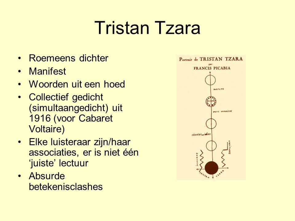 Tristan Tzara Roemeens dichter Manifest Woorden uit een hoed Collectief gedicht (simultaangedicht) uit 1916 (voor Cabaret Voltaire) Elke luisteraar zi