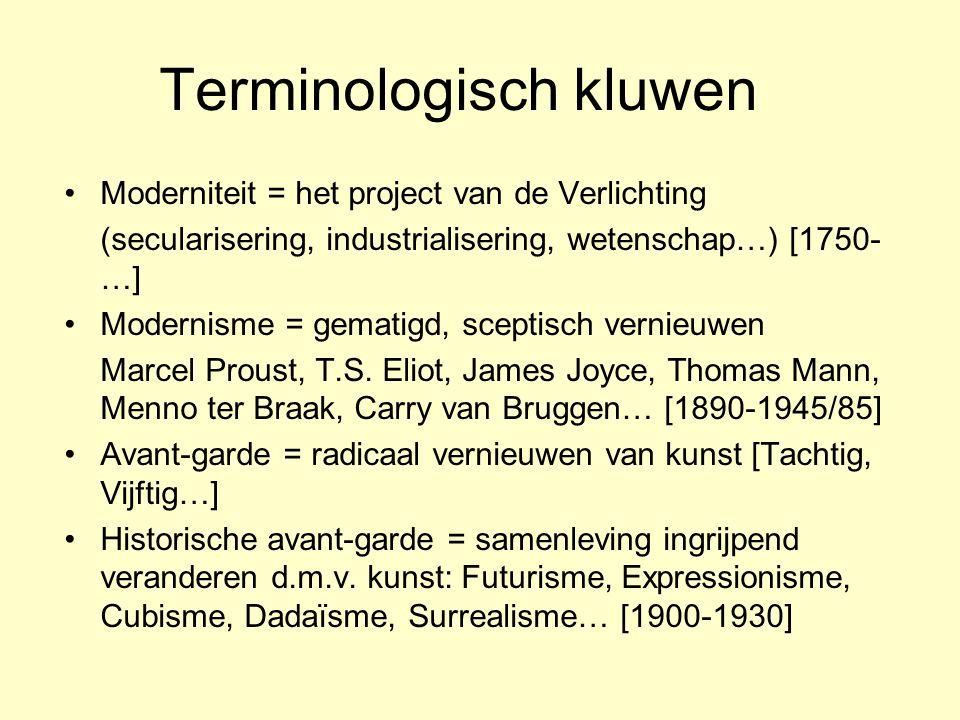 Terminologisch kluwen Moderniteit = het project van de Verlichting (secularisering, industrialisering, wetenschap…) [1750- …] Modernisme = gematigd, s