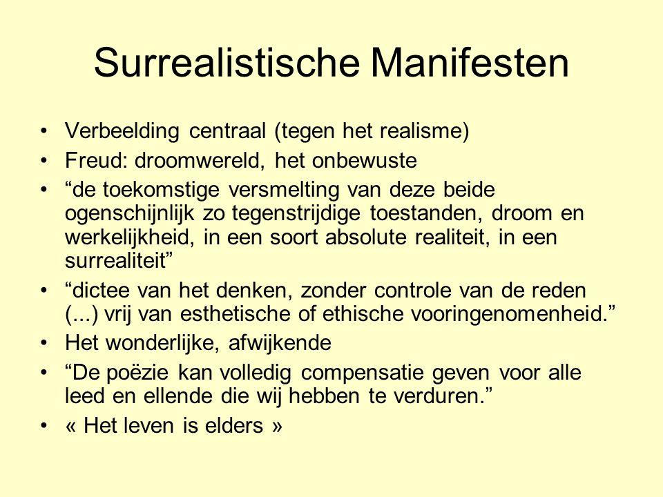 """Surrealistische Manifesten Verbeelding centraal (tegen het realisme) Freud: droomwereld, het onbewuste """"de toekomstige versmelting van deze beide ogen"""