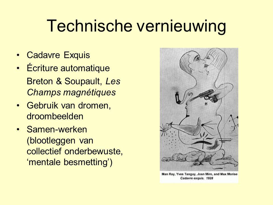 Technische vernieuwing Cadavre Exquis Écriture automatique Breton & Soupault, Les Champs magnétiques Gebruik van dromen, droombeelden Samen-werken (bl