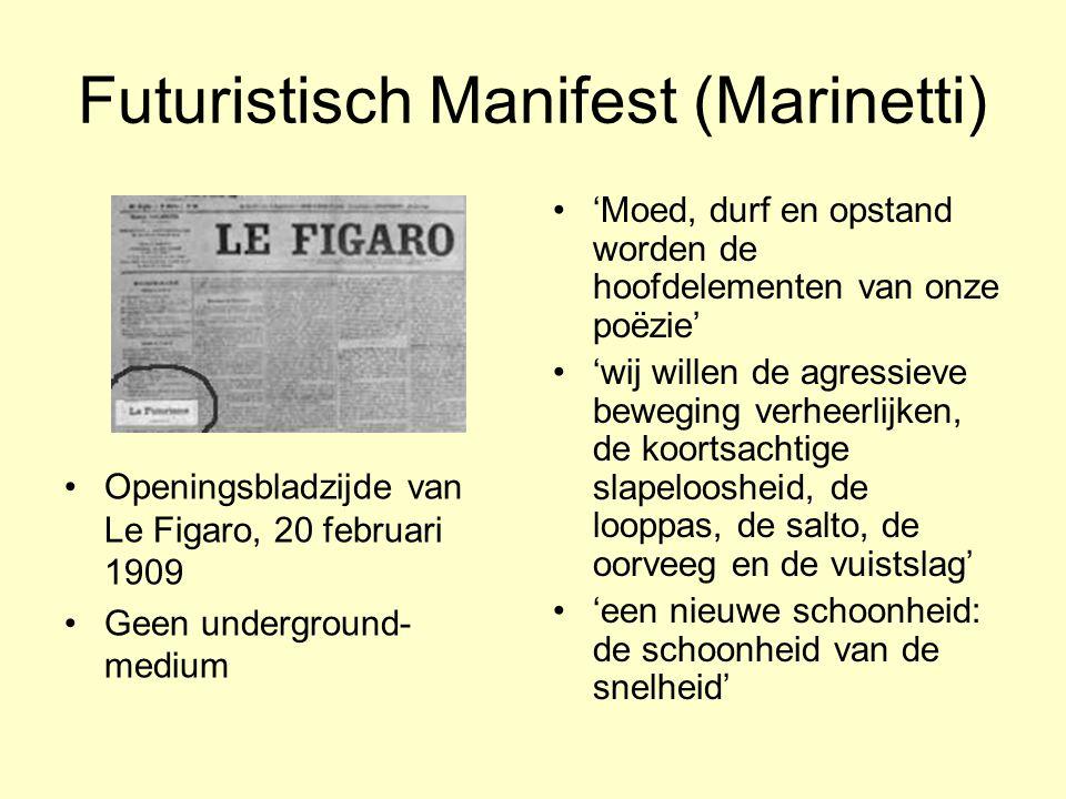 Futuristisch Manifest (Marinetti) Openingsbladzijde van Le Figaro, 20 februari 1909 Geen underground- medium 'Moed, durf en opstand worden de hoofdele