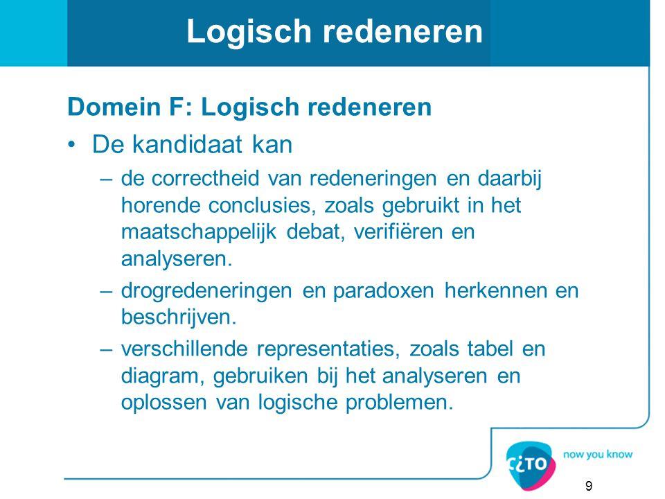 Logisch redeneren Domein F: Logisch redeneren De kandidaat kan –de correctheid van redeneringen en daarbij horende conclusies, zoals gebruikt in het m