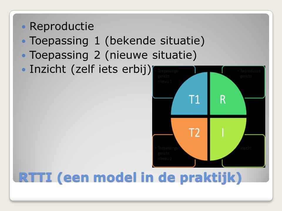 RTTI (een model in de praktijk) Reproductie Toepassing 1 (bekende situatie) Toepassing 2 (nieuwe situatie) Inzicht (zelf iets erbij)