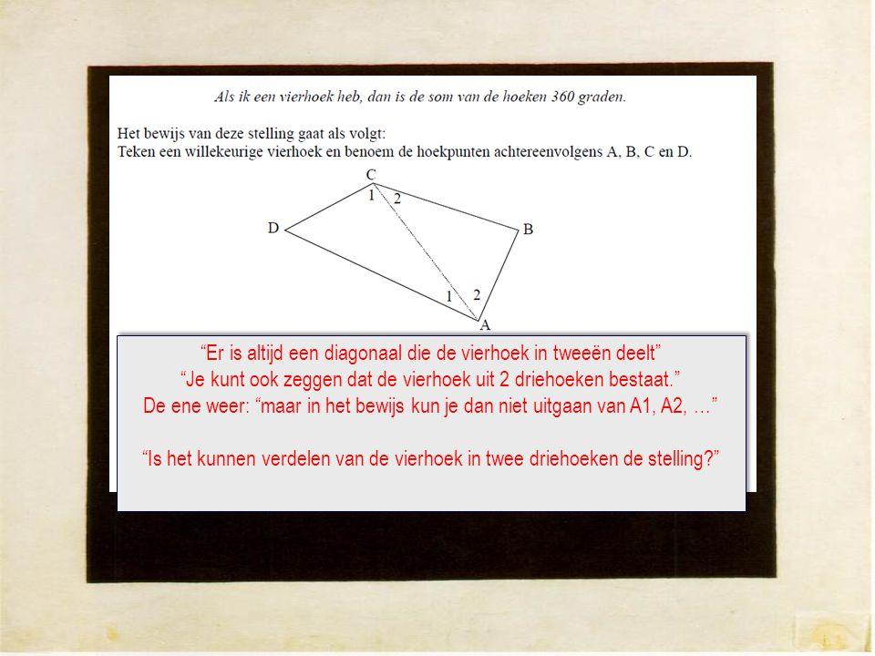 Er is altijd een diagonaal die de vierhoek in tweeën deelt Je kunt ook zeggen dat de vierhoek uit 2 driehoeken bestaat. De ene weer: maar in het bewijs kun je dan niet uitgaan van A1, A2, … Is het kunnen verdelen van de vierhoek in twee driehoeken de stelling? Er is altijd een diagonaal die de vierhoek in tweeën deelt Je kunt ook zeggen dat de vierhoek uit 2 driehoeken bestaat. De ene weer: maar in het bewijs kun je dan niet uitgaan van A1, A2, … Is het kunnen verdelen van de vierhoek in twee driehoeken de stelling?