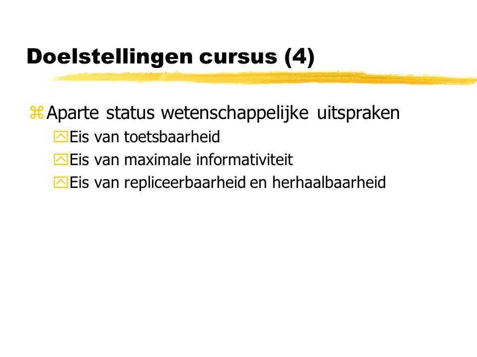 Doelstellingen cursus (4) zAparte status wetenschappelijke uitspraken yEis van toetsbaarheid yEis van maximale informativiteit yEis van repliceerbaarheid en herhaalbaarheid