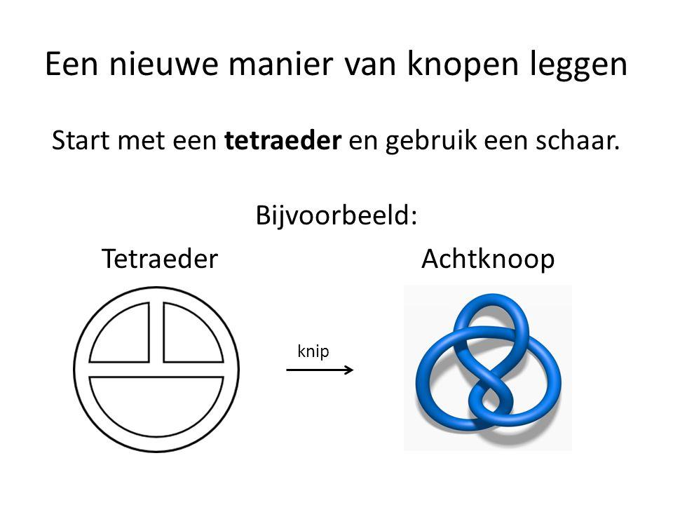 Een nieuwe manier van knopen leggen Start met een tetraeder en gebruik een schaar.