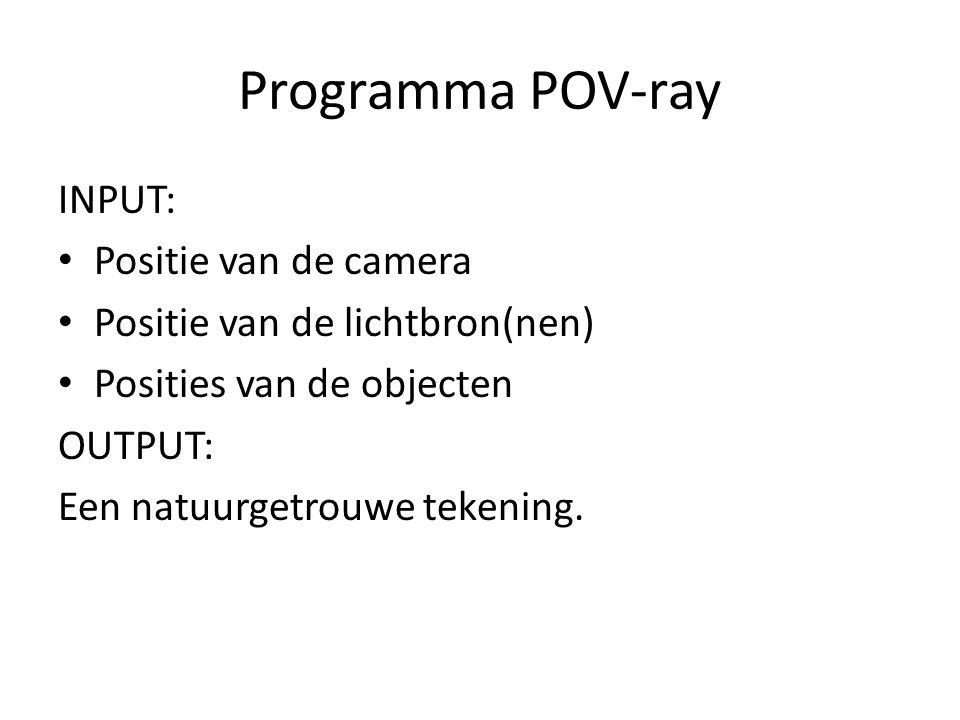 Programma POV-ray INPUT: Positie van de camera Positie van de lichtbron(nen) Posities van de objecten OUTPUT: Een natuurgetrouwe tekening.