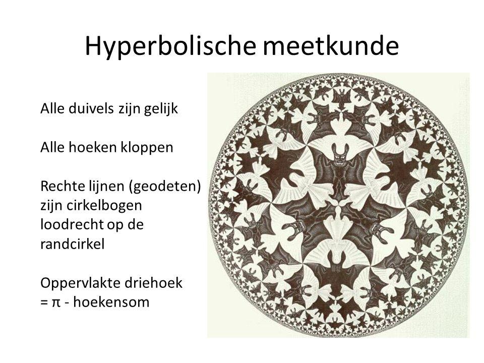 Hyperbolische meetkunde Alle duivels zijn gelijk Alle hoeken kloppen Rechte lijnen (geodeten) zijn cirkelbogen loodrecht op de randcirkel Oppervlakte driehoek = π - hoekensom