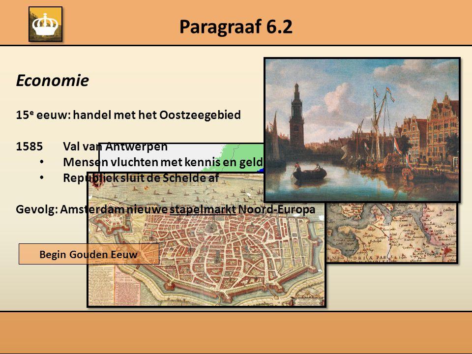 Paragraaf 6.2 Economie 15 e eeuw: handel met het Oostzeegebied 1585Val van Antwerpen Mensen vluchten met kennis en geld Republiek sluit de Schelde af