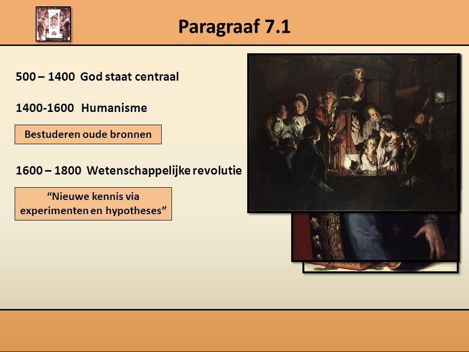 Paragraaf 7.1 500 – 1400 God staat centraal 1400-1600 Humanisme 1600 – 1800 Wetenschappelijke revolutie Bestuderen oude bronnen Nieuwe kennis via experimenten en hypotheses