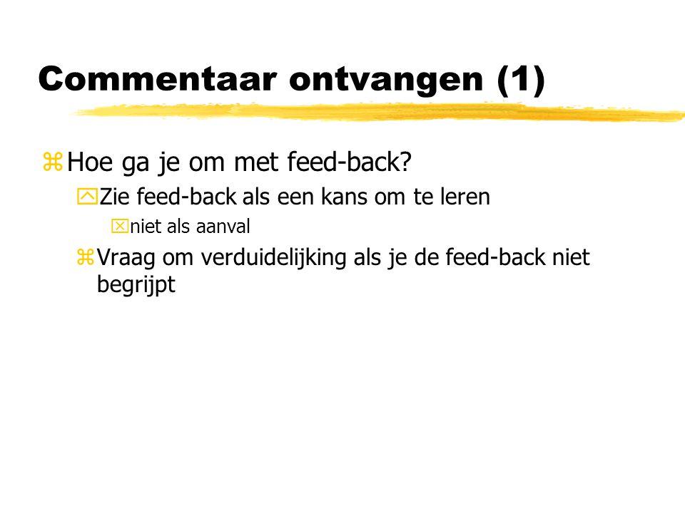 Commentaar ontvangen (1) zHoe ga je om met feed-back.