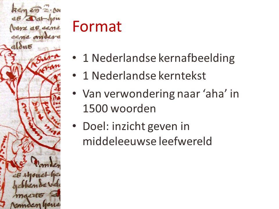 Format 1 Nederlandse kernafbeelding 1 Nederlandse kerntekst Van verwondering naar 'aha' in 1500 woorden Doel: inzicht geven in middeleeuwse leefwereld