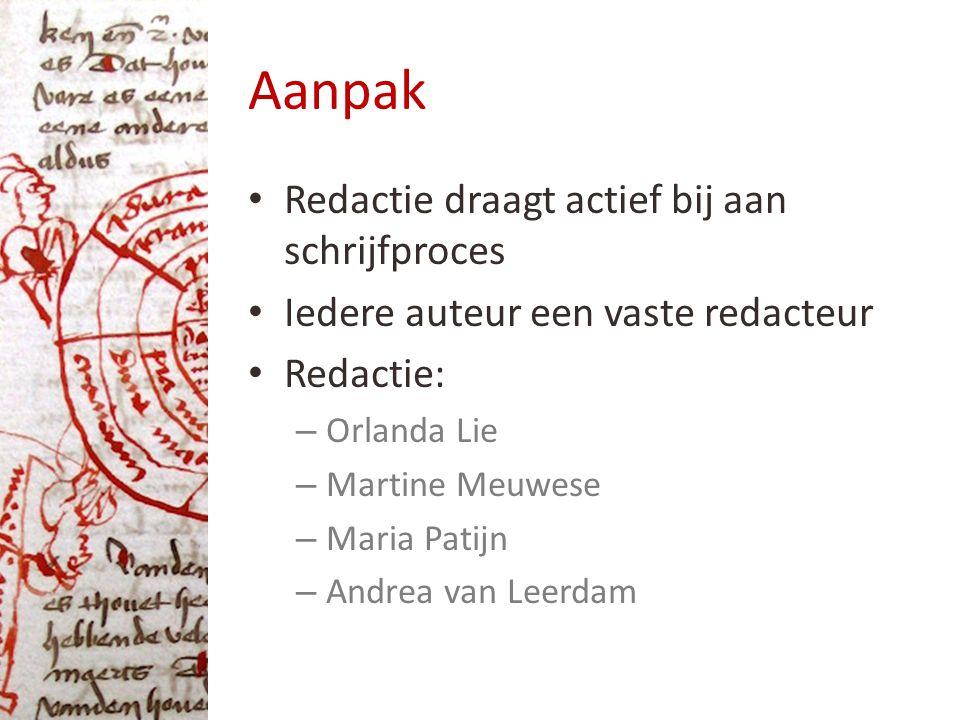 Aanpak Redactie draagt actief bij aan schrijfproces Iedere auteur een vaste redacteur Redactie: – Orlanda Lie – Martine Meuwese – Maria Patijn – Andrea van Leerdam