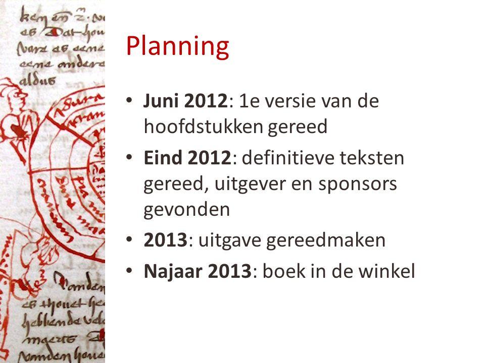 Planning Juni 2012: 1e versie van de hoofdstukken gereed Eind 2012: definitieve teksten gereed, uitgever en sponsors gevonden 2013: uitgave gereedmaken Najaar 2013: boek in de winkel