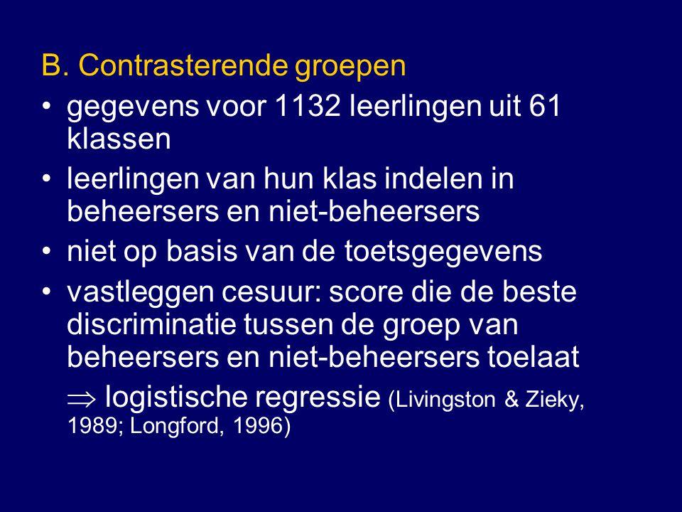 B. Contrasterende groepen gegevens voor 1132 leerlingen uit 61 klassen leerlingen van hun klas indelen in beheersers en niet-beheersers niet op basis