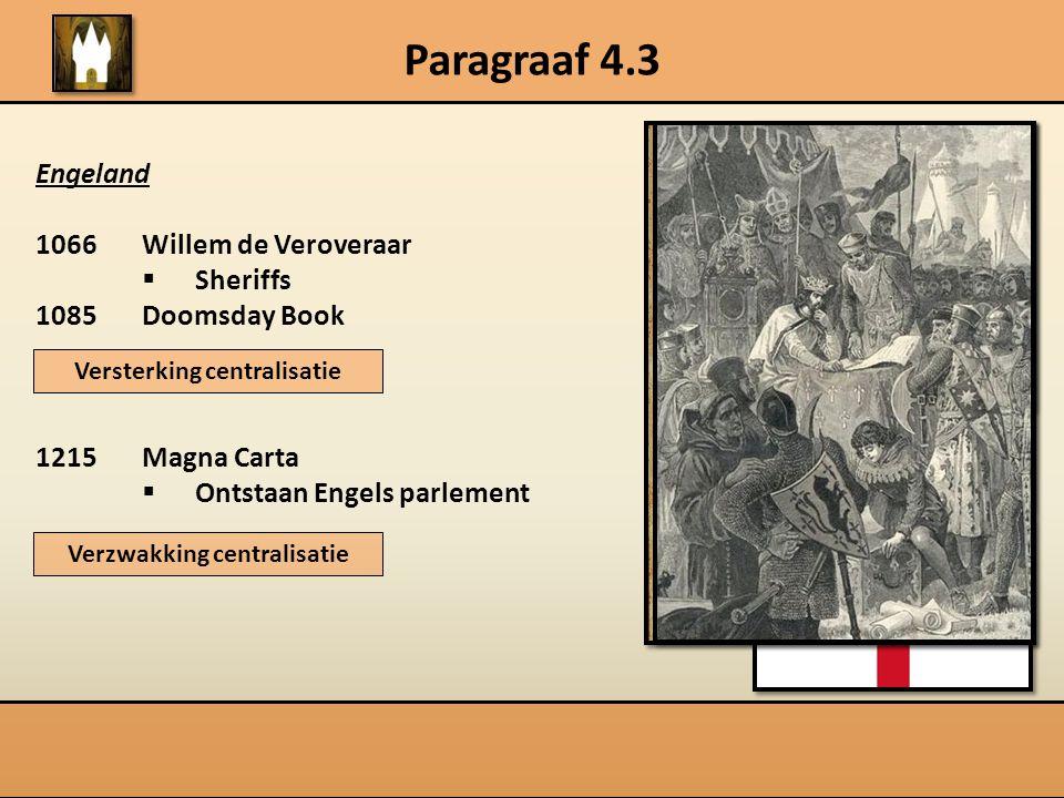 Paragraaf 4.3 Engeland 1066 Willem de Veroveraar  Sheriffs 1085Doomsday Book 1215Magna Carta  Ontstaan Engels parlement Versterking centralisatie Ve