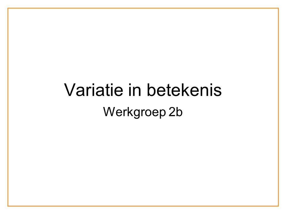 Variatie in betekenis Werkgroep 2b
