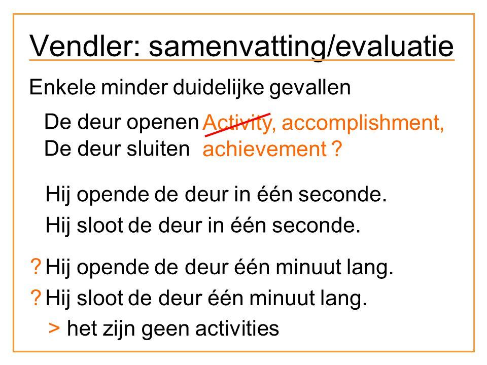 Enkele minder duidelijke gevallen De deur openen De deur sluiten Activity, accomplishment, achievement .