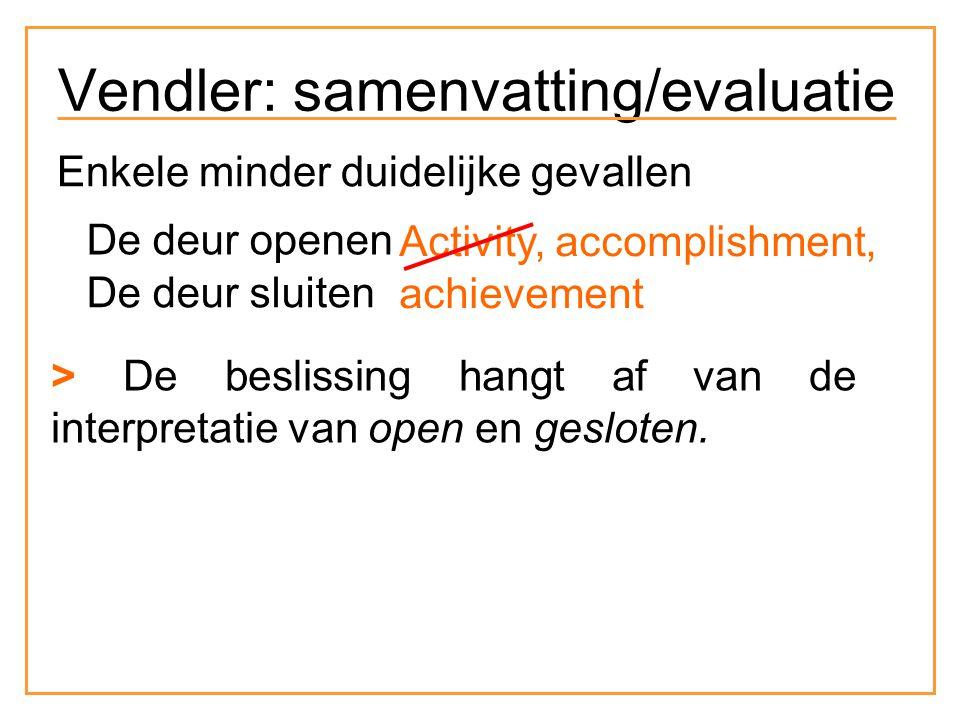 Enkele minder duidelijke gevallen De deur openen De deur sluiten Activity, accomplishment, achievement > De beslissing hangt af van de interpretatie van open en gesloten.