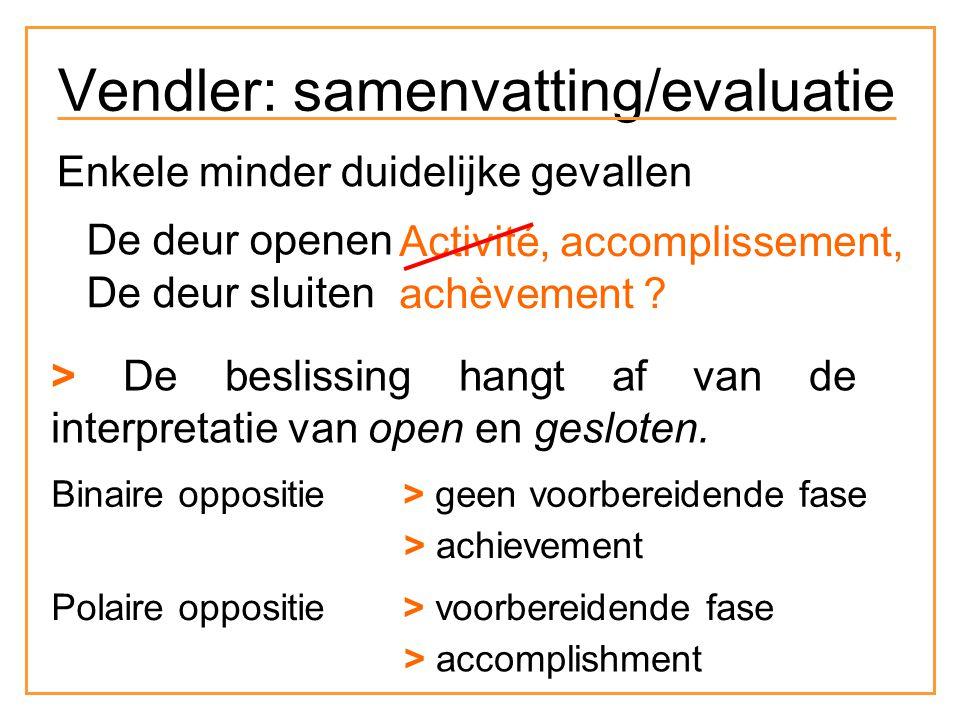 Enkele minder duidelijke gevallen De deur openen De deur sluiten Activité, accomplissement, achèvement .