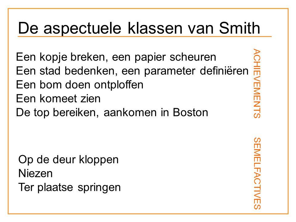 Een kopje breken, een papier scheuren Een stad bedenken, een parameter definiëren Een bom doen ontploffen Een komeet zien De top bereiken, aankomen in Boston Op de deur kloppen Niezen Ter plaatse springen ACHIEVEMENTS SEMELFACTIVES De aspectuele klassen van Smith