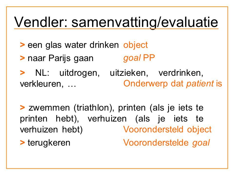 > een glas water drinken > naar Parijs gaan > NL: uitdrogen, uitzieken, verdrinken, verkleuren, … > zwemmen (triathlon), printen (als je iets te printen hebt), verhuizen (als je iets te verhuizen hebt) > terugkeren object goal PP Onderwerp dat patient is Voorondersteld object Vooronderstelde goal Vendler: samenvatting/evaluatie