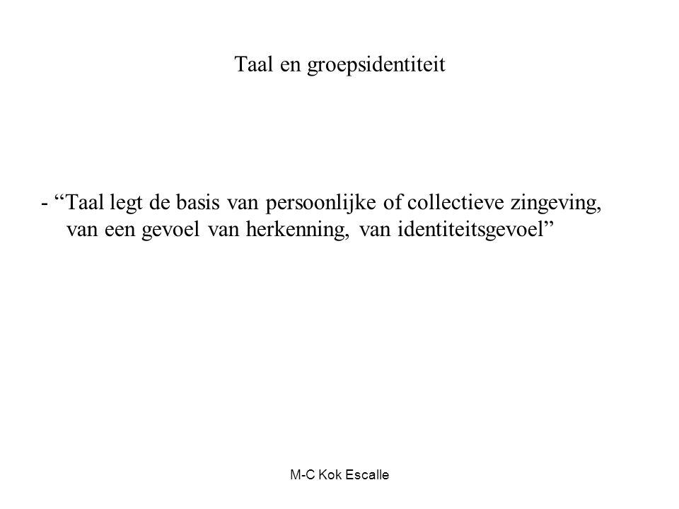 """Taal en groepsidentiteit - """"Taal legt de basis van persoonlijke of collectieve zingeving, van een gevoel van herkenning, van identiteitsgevoel"""" M-C Ko"""