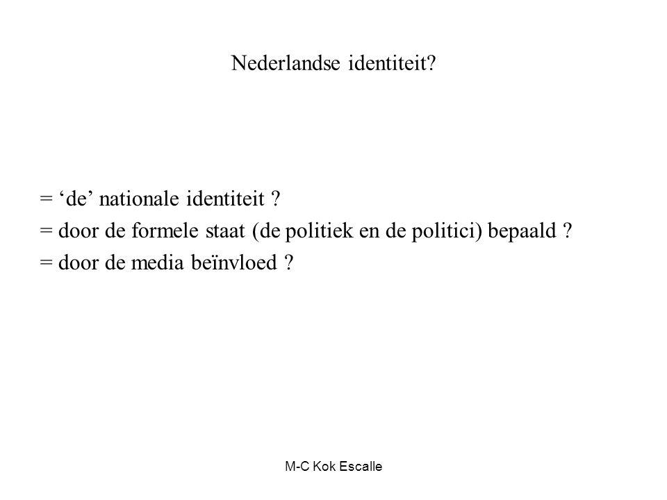Nederlandse identiteit? = 'de' nationale identiteit ? = door de formele staat (de politiek en de politici) bepaald ? = door de media beïnvloed ? M-C K
