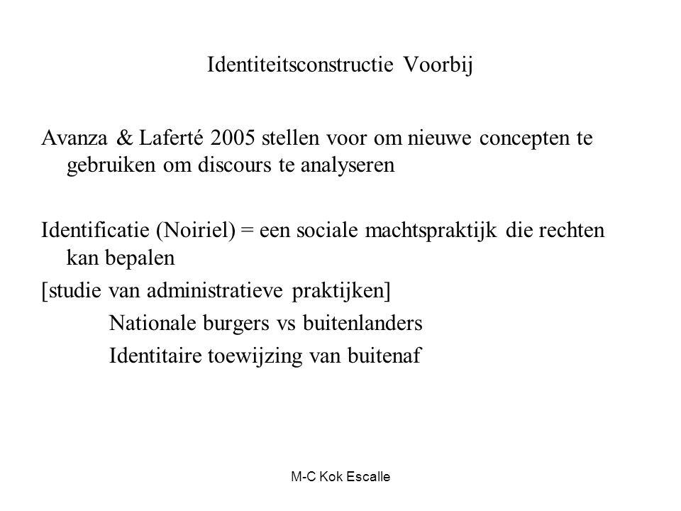Identiteitsconstructie Voorbij Avanza & Laferté 2005 stellen voor om nieuwe concepten te gebruiken om discours te analyseren Identificatie (Noiriel) =
