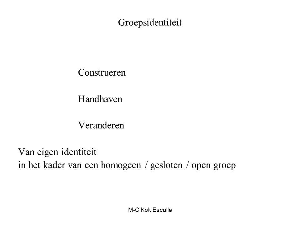 Groepsidentiteit Construeren Handhaven Veranderen Van eigen identiteit in het kader van een homogeen / gesloten / open groep M-C Kok Escalle