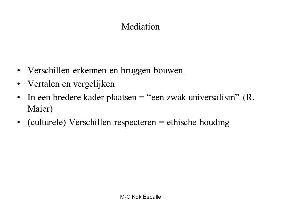 """Mediation Verschillen erkennen en bruggen bouwen Vertalen en vergelijken In een bredere kader plaatsen = """"een zwak universalism"""" (R. Maier) (culturele"""