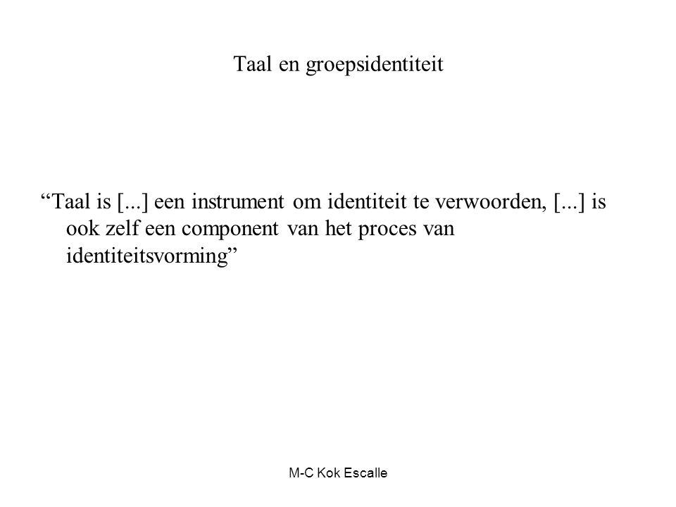 """Taal en groepsidentiteit """"Taal is [...] een instrument om identiteit te verwoorden, [...] is ook zelf een component van het proces van identiteitsvorm"""