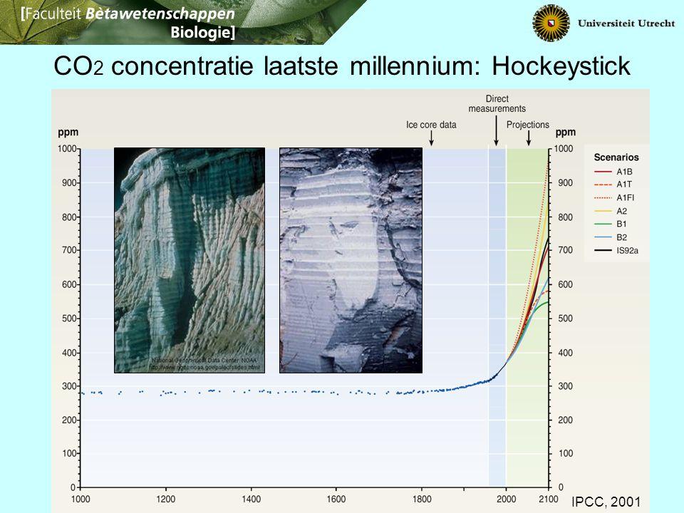 IPCC, 2001 CO 2 concentratie laatste millennium: Hockeystick